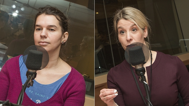 Eve-Lyne Couturier et Geneviève Cloutier au micro de Catherine Perrin