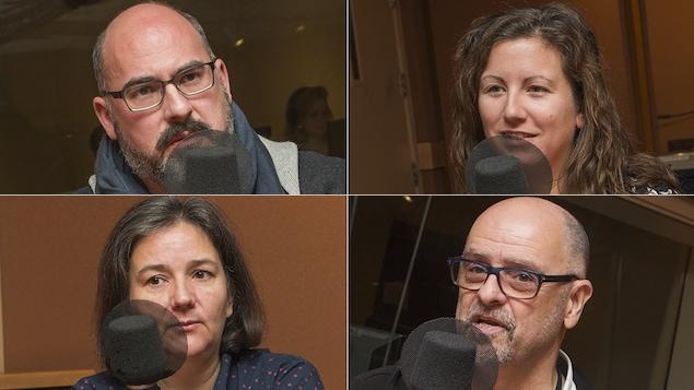 Maxime De Blois, Geneviève Proulx, Marie Houzeau et Claude Robillard au micro de Catherine Perrin