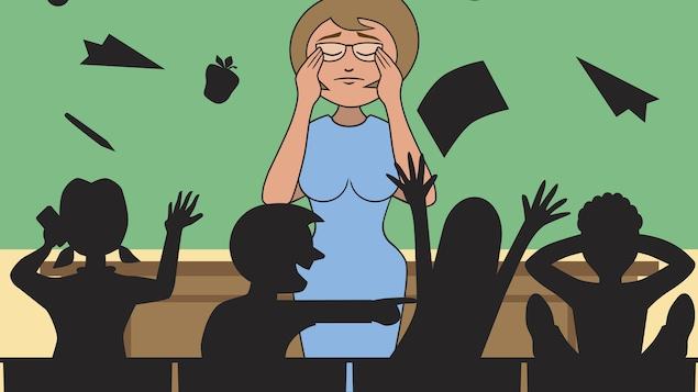 Dessins d'une enseignante visiblement débordée.