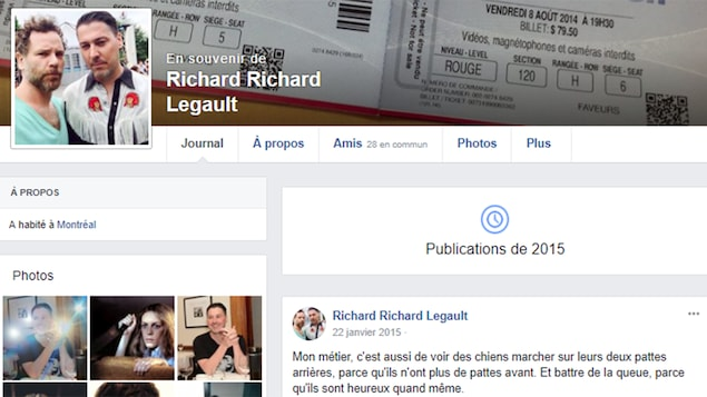 Haut de la page Facebook commémorative de Richard Legault