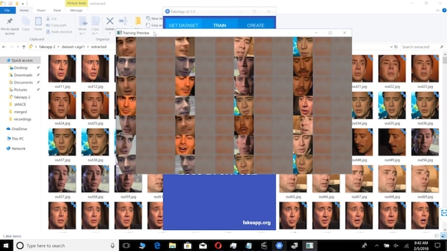 Capture d'écran montrant des centaines de photos d'un visage et l'application Fake App en cours de fonctionnement.