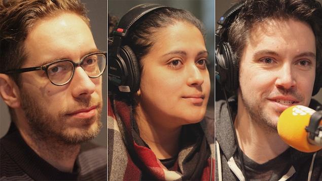 Alexandre Fecteau, Ana Maria Pinto Barbosa et Jasmin Hains au micro de Marie Grégoire