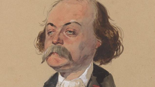 Gustave Flaubert, l'auteur de Madame Bovary, est dessiné en veston.
