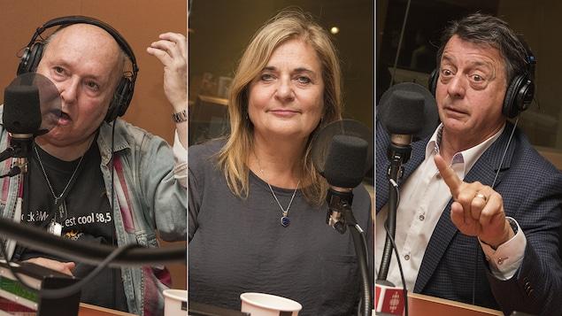 Lucien Francoeur, Nathalie Petrowski et Jean-Luc Mongrain au micro de Catherine Perrin
