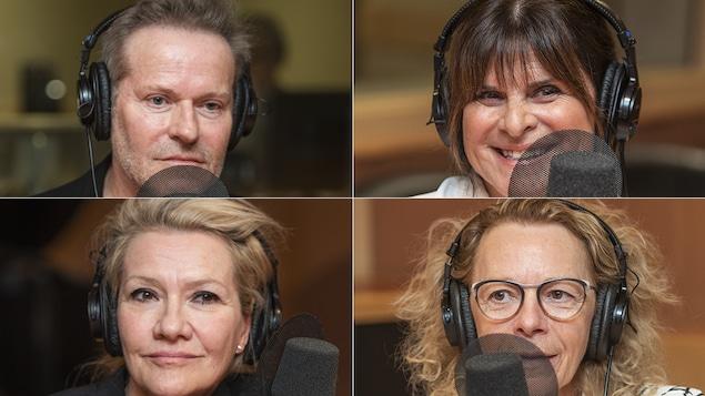 Luc Guérin, Guylaine Tremblay, Élise Guilbault et Danielle Trottier au micro de Catherine Perrin.
