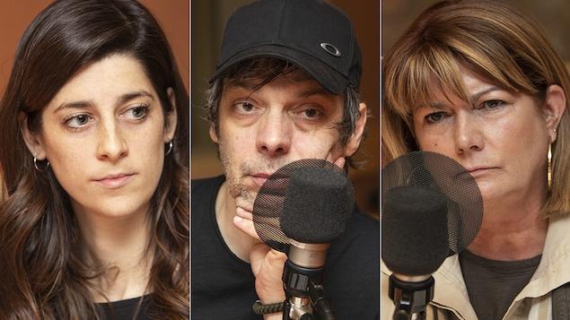 Lysa-Marie Hontoy, Stefie Shock et Manon Charbonneau au micro de Catherine Perrin.