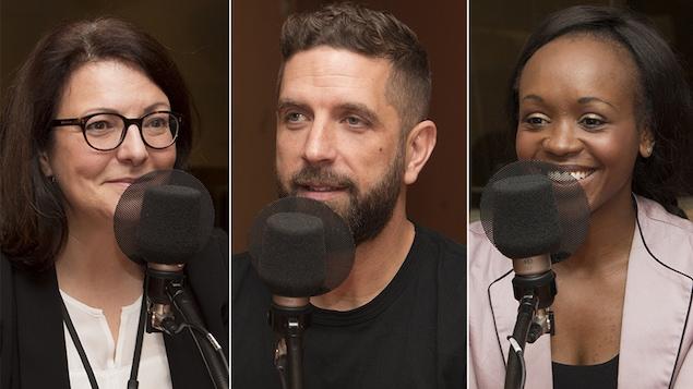 Danielle Poulin, Justin Kingsley et Solange Tuyishime en entrevue au studio 18 de Radio-Canada, à Montréal, le 6 novembre 2017