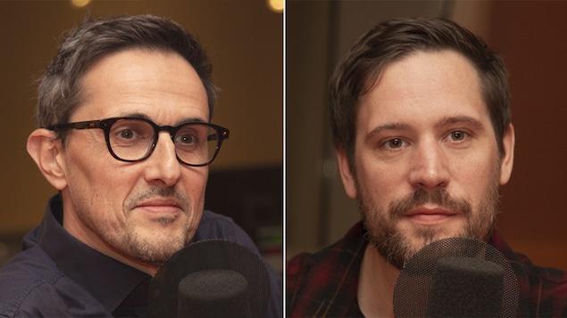 Arnaud Hoedt et Jérôme Piron au studio 18 de Radio-Canada, à Montréal, le 29 octobre 2018