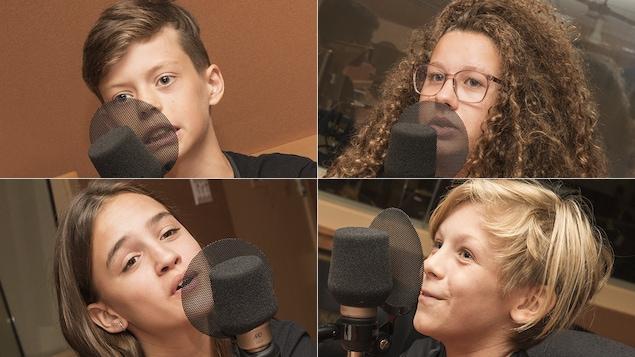 Théo Cliche, Alice Proulx De Lamirande, Lili-Aude Labranche et Miro Basque au micro de Stéphan Bureau