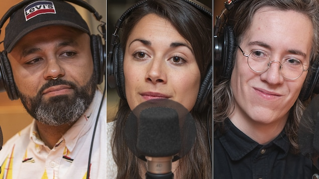 Emmanuel Leroux-Nega, Alexandra Lamoureux et Olivier Arbour-Masse au micro de Catherine Perrin.