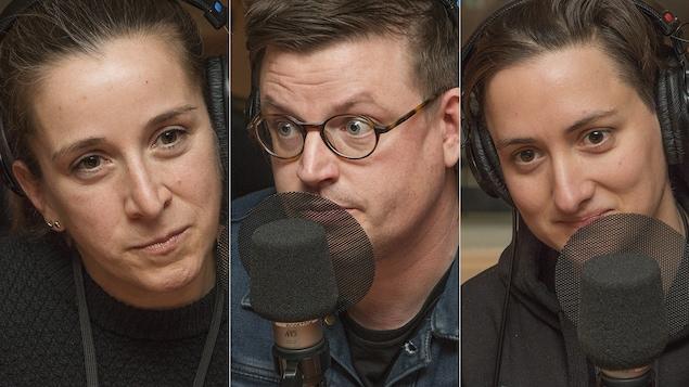 Marie-Claude Lortie, Danny St Pierre et Isabelle Deschamps au micro de Catherine Perrin.