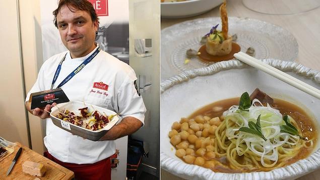 Des bouchées de foie gras sur un plateau et une soupe de pois chiches dans un bol élégant.