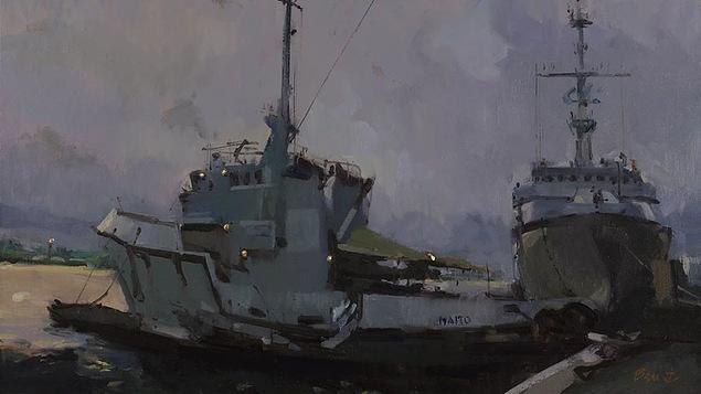 Maïto et Ventôse à Fort-de-France avant l'orage, huile sur toile