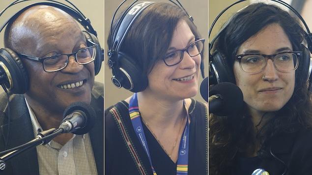 Melchior Mbonimpa, Aurélie Lacassagne et Chloé Leduc-Bélanger au Salon du livre de Sudbury.
