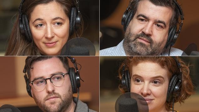 Frédérique Ménard-Aubin, Mathieu Arsenault, Julien Fréchette et Alix Gagnon au micro de Catherine Perrin.