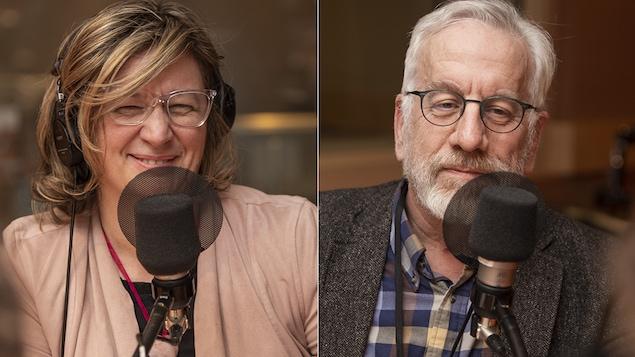 Andrée-Lise Méthot et Michel Seymour au micro de Catherine Perrin.