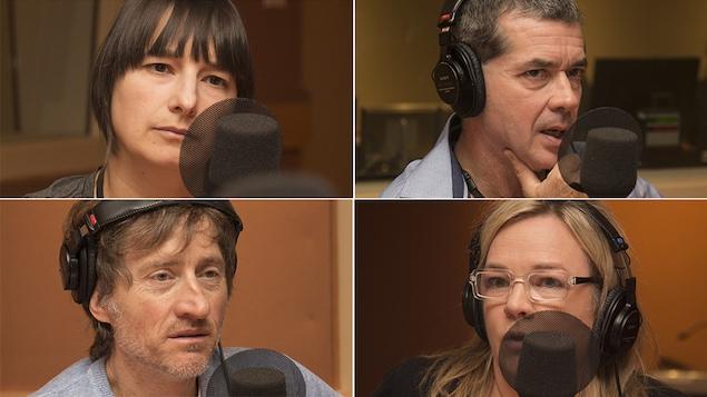 Élise Gravel, Mathieu-Robert Sauvé, Emmanuel Bilodeau et Marcia Pilote au studio 18 de Radio-Canada