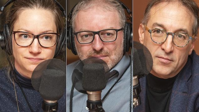 Geneviève Paul, Karel Mayrand et Normand Mousseau au micro de Catherine Perrin.