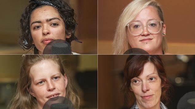 Tracey-Samantha Petit, Marie-Michèle Cloutier, Mélanie Thibeault et Patricia Dorais au micro de Catherine Perrin.