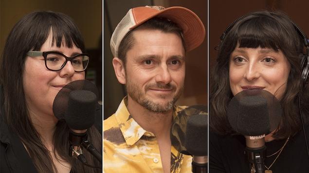 Julie Artacho, Jocelyn Michel et Sarah-Maude Beauchesne répondent aux questions de Catherine Perrin au studio 18 de Radio-Canada, à Montréal, le 21 mai 2018.