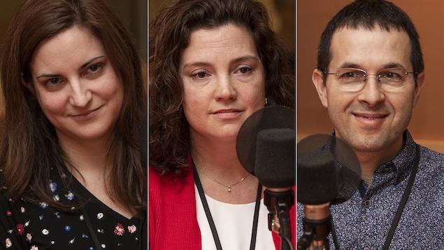Marie-France Lemire, Heather Pim et Yves Castonguay au micro de Catherine Perrin.