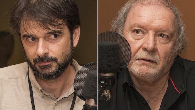 Pierre Rainville et Michel Landry au micro de Stéphan Bureau.