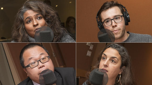 Sumitra Rajagopalan, Marc-André Sabourin, Winston Chan et Mouna Joulali au micro de Catherine Perrin