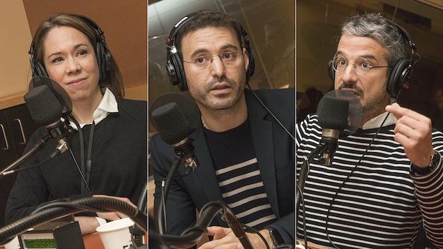 Catherine Régis, Marc-Antoine Dilhac et Matthieu Dugal au micro d'Isabelle Craig