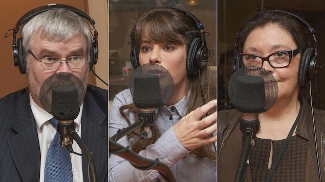 Philippe Rivest, Marie-Claude Savard et Célia Lillo au micro de Catherine Perrin.