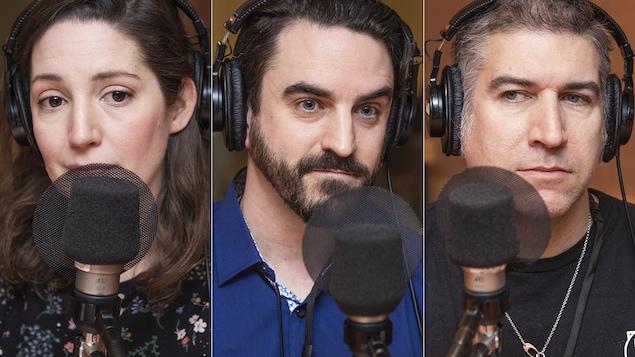 Sandra Rodriguez, Mathieu Marcotte et Hugues Sweeney au micro de Catherine Perrin.