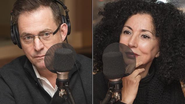 Jasmin Roy et Rachida Azdouz au micro de Catherine Perrin.