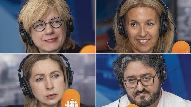 Élise St-André, Sonia Lupien, Tina Montreuil et Ghassan El-Baalbaki au micro de Catherine Perrin.
