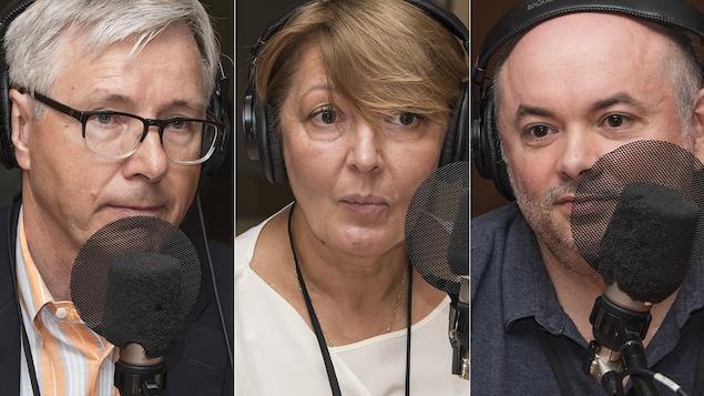 Guy St-Jacques, Ekaterina Piskunova et Eric Mottet au micro de Stéphan Bureau.