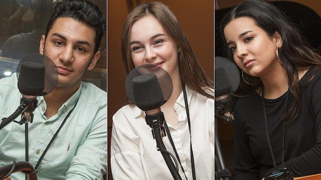 Erfan Todidinia, Arina Ianioglo et Kimia Safaeivahid au micro de Catherine Perrin