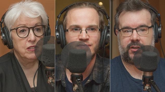 Danièle Tremblay, Simon Van Vliet et François Lemay au micro de Catherine Perrin.