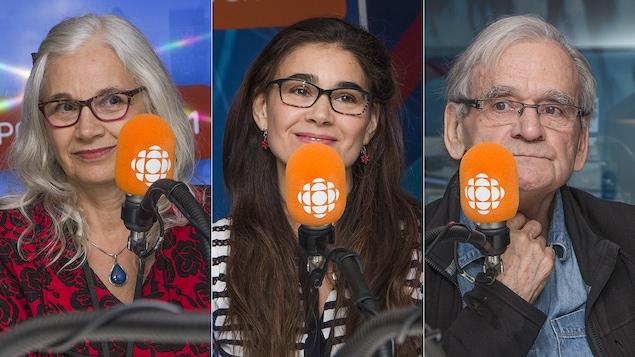 Sylvie Van Brabant, Katerine Giguère et Serge Giguère au micro de Catherine Perrin