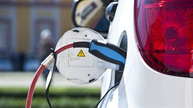 Une voiture électrique en train d'être rechargée.