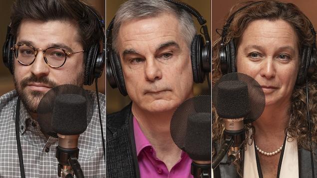 René Wittmer, Denis Roy et Cara Tannenbaum au micro de Catherine Perrin.