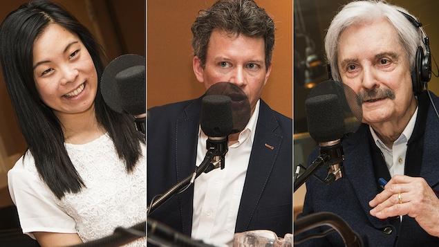 Cathy Wong, Louis Aucoin et Marc Laurendeau au micro de Catherine Perrin