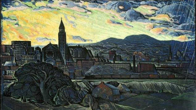 L'oeuvre «Commencement d'orage à Hochelaga» est peut-être la plus connue d'une série de toiles de Marc-Aurèle Fortin qui dépeignent le quartier Hochelaga.
