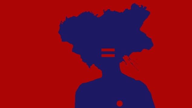 La silhouette d'un personnage se dessine en bleu sur fond rouge. Le symbole = se trouve sur son visage.
