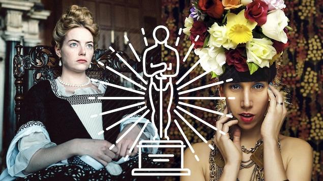 Emma Stone dans «The Favourite» et Donzelle, avec un dessin d'Oscar superposé.
