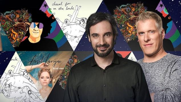 Pochettes d'albums de Dead Obies, Robert Charlebois, Cheval fou et Avril Lavigne, avec les portraits de Fred Savard et Olivier Robillard Laveaux en premier plan.