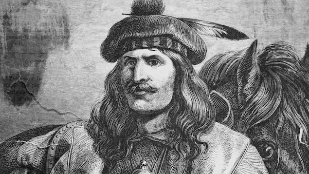 Gravure à l'effigie de l'explorateur Pierre-Esprit Radisson (1636-1710).