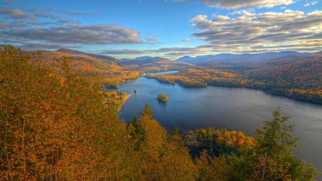 Paysage d'une forêt rouge et orangée entourant un lac.