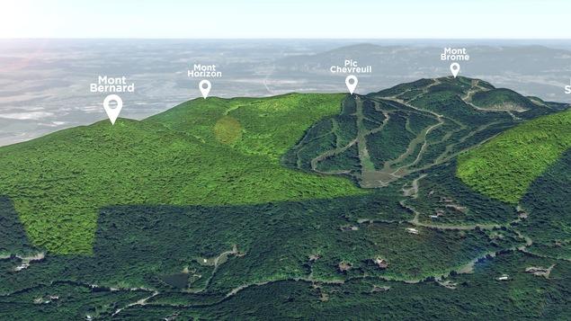 Les différents monts de Bromont concernés par le plan de parc naturel : le Mont Bernard, le Mont Horizon, le Pic Chevreuil, le Mont Brome et le Mont Spruce