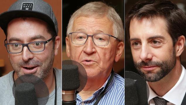 Montage de trois photos de Emmanuel Lauzon, Jean-Pierre Léger e François Cardinal