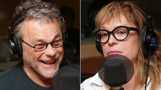Montage de deux photos de Jacques Davidts et de Martine Delvaux devant un micro de radio.