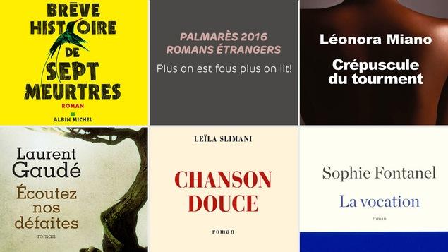 Une partie des couvertures des romans de Marlon James, de Laurent Gaudé, de Leïla Slimani, de Sophie Fontanel et de Léonora Miano.