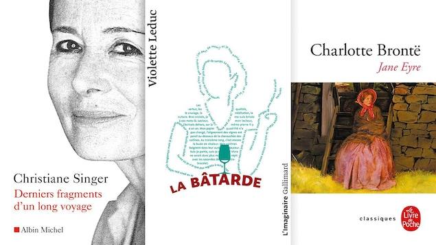 Les pages de couverture de trois livres.